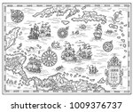 black and white pirate map of... | Shutterstock . vector #1009376737