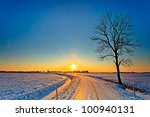 Sunset In A Cold White Winter...