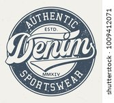 authentic denim sportswear  ... | Shutterstock .eps vector #1009412071
