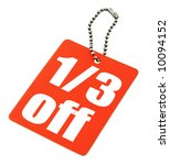close-up of a sale tag against white, no copyright infringement - stock photo