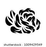 flower rose  black and white.... | Shutterstock .eps vector #1009429549
