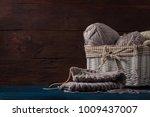 Light Gray Knitting In A Baske...