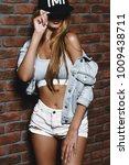 cool modern girl with long... | Shutterstock . vector #1009438711