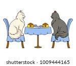 cats on date in cat restaurant... | Shutterstock . vector #1009444165
