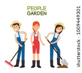 farmer gardener cartoon people | Shutterstock .eps vector #1009449301