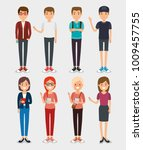 set of millennial young people | Shutterstock .eps vector #1009457755