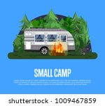 small camp poster with bonfire... | Shutterstock .eps vector #1009467859
