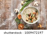 bowl with delicious mushroom... | Shutterstock . vector #1009472197