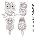 set of cute owls. | Shutterstock .eps vector #100947949