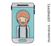 smartphone man profile picture... | Shutterstock .eps vector #1009485991