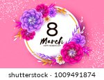 bright colorful origami flowers....   Shutterstock .eps vector #1009491874