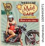 motel route 66 vintage poster | Shutterstock .eps vector #1009493971