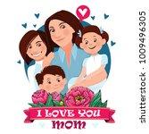 mom is hugging three children.... | Shutterstock .eps vector #1009496305