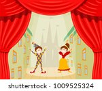 children's theater. a scene... | Shutterstock .eps vector #1009525324