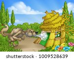 the big bad wolf from the three ... | Shutterstock .eps vector #1009528639