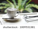 hot coffee cup with vapor steam ... | Shutterstock . vector #1009531381