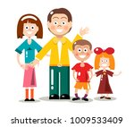 happy family isolated on white... | Shutterstock .eps vector #1009533409