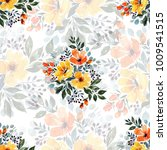 seamless watercolor floral... | Shutterstock . vector #1009541515