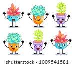 six cheerful plants. cartoon...   Shutterstock .eps vector #1009541581
