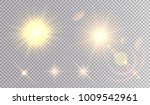 set of golden light effects.... | Shutterstock .eps vector #1009542961