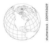 outline earth globe with map of ... | Shutterstock .eps vector #1009543609