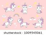 cute unicorns cartoon happy fun ... | Shutterstock .eps vector #1009545061