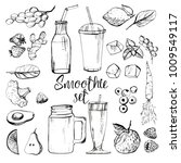 smoothie set. vector background | Shutterstock .eps vector #1009549117