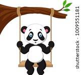 cartoon cute panda swinging | Shutterstock .eps vector #1009551181