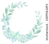 watercolor green wreath. hand... | Shutterstock . vector #1009561891