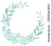 watercolor green wreath. hand... | Shutterstock . vector #1009561891
