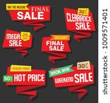 modern origami sale stickers...   Shutterstock .eps vector #1009571401