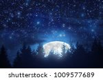 full moon rising from the... | Shutterstock . vector #1009577689