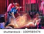 macro view of miner working for ... | Shutterstock . vector #1009585474