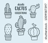vector doodle cactus... | Shutterstock .eps vector #1009587397