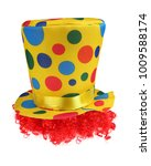 clown top hat with wig isolated ... | Shutterstock . vector #1009588174