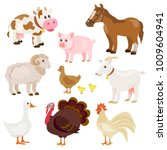 cute farm animals isolated.... | Shutterstock .eps vector #1009604941