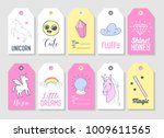 unicorn kids tags collection... | Shutterstock .eps vector #1009611565