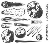 Vintage meteors collection with falling comets asteroids and meteorites of different shapes isolated vector illustration
