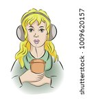 a girl with headphones and...   Shutterstock .eps vector #1009620157