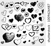 doodled hearts collection | Shutterstock .eps vector #1009626487