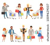 people shopping set. flat... | Shutterstock .eps vector #1009629037