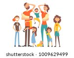 happy caucasian family with... | Shutterstock .eps vector #1009629499