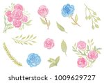 watercolor valentine... | Shutterstock . vector #1009629727