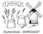 bakery set with wheat ears ... | Shutterstock . vector #1009632037