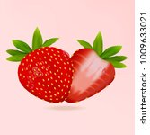 realistic fresh strawberry with ... | Shutterstock .eps vector #1009633021