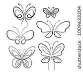 butterfly set. black on white... | Shutterstock .eps vector #1009633204