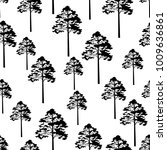 seamless pattern  pine tree ... | Shutterstock .eps vector #1009636861
