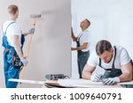 carpenter drawing on a... | Shutterstock . vector #1009640791