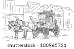 vector   horse western carriage ... | Shutterstock .eps vector #100965721