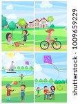children having fun in summer... | Shutterstock . vector #1009659229